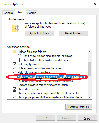 Creare the HIde protected operating system files option to display the locked folder